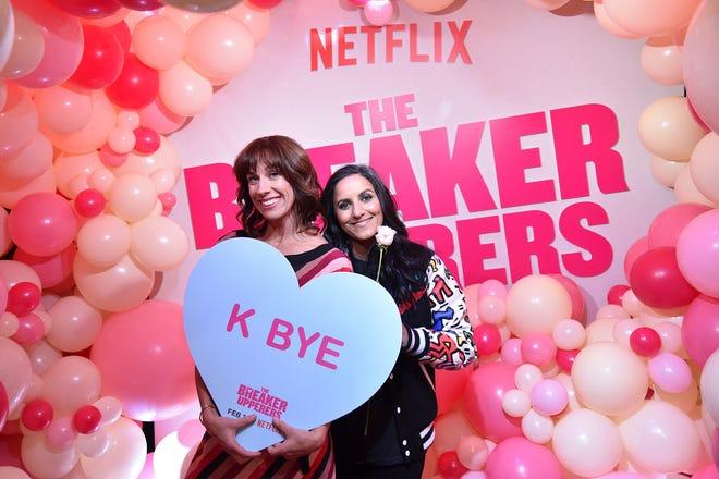 "Jackie van Beek, left, and Madeleine Sami attend the Netflix film ""The Breaker Upperers"" NYC Galentine's Screening on Feb. 13 in New York."