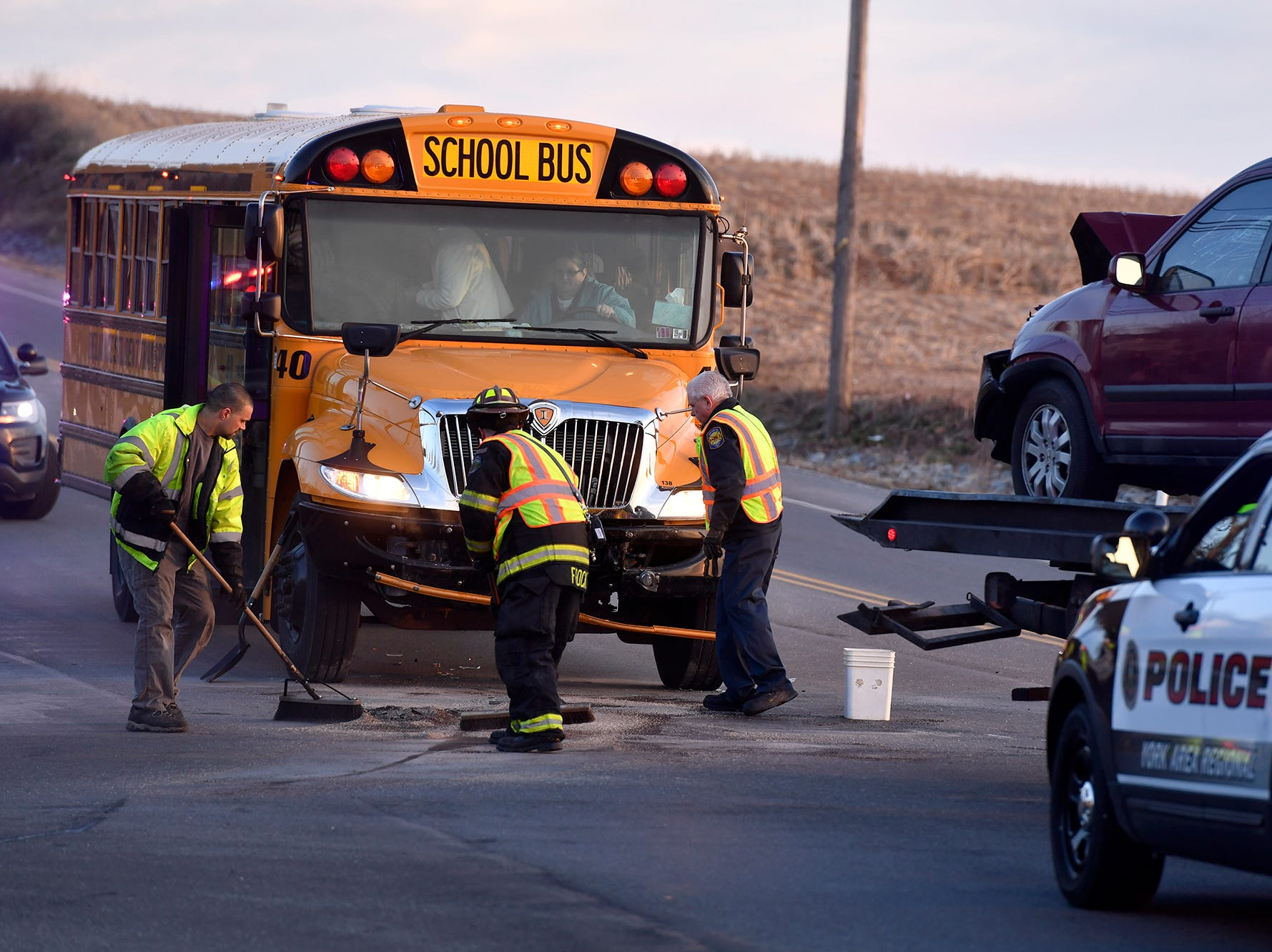Dallastown Area High School students escaped injury when a car slammed head on into their bus on Cape Horn Road, Thursday, March 13, 2019.