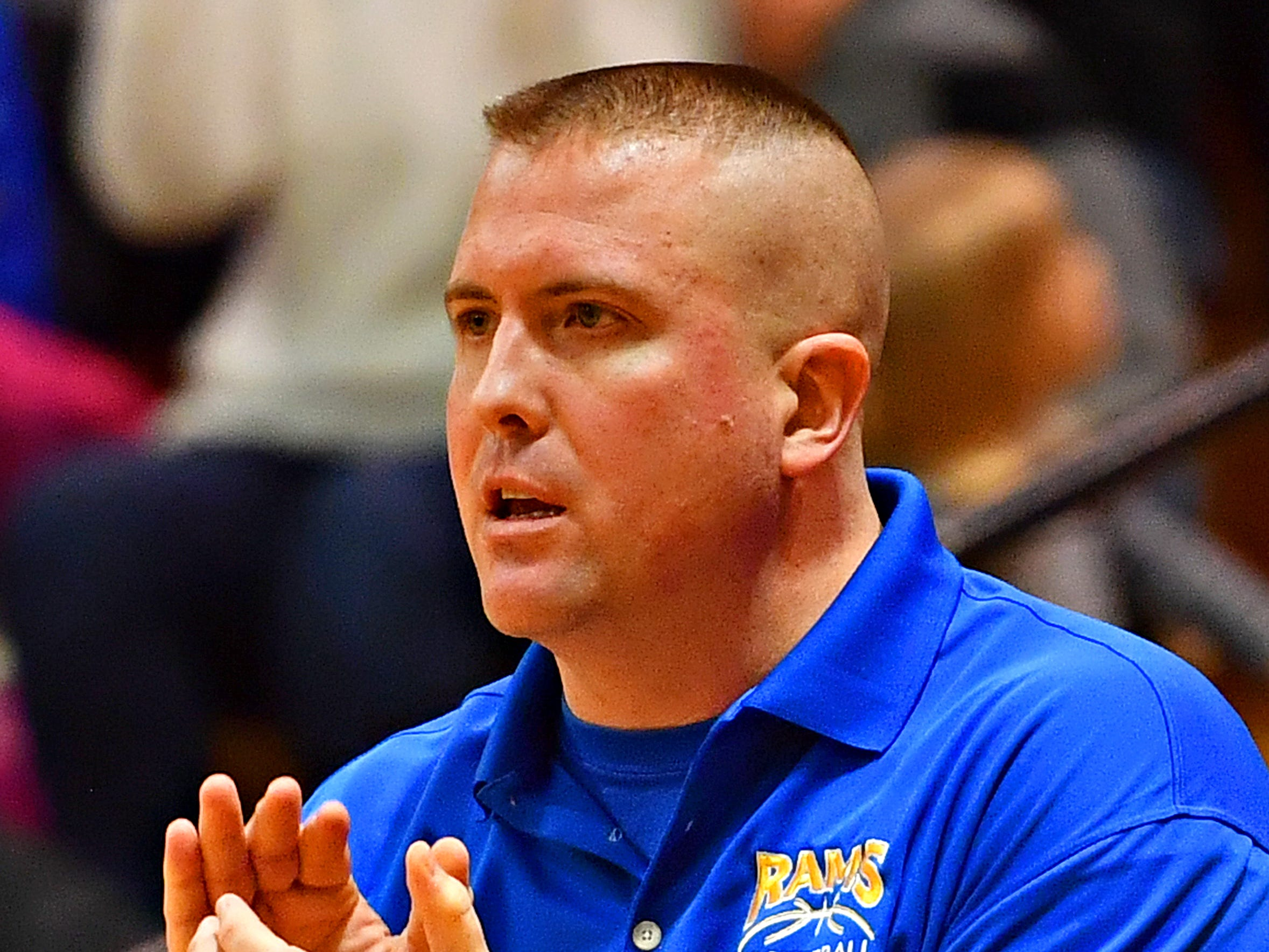 Kennard-Dale Head Coach Aaron Eaton during PIAA Class 4-A girl's basketball second round action against Mifflinburg at Milton Hershey High School in Hershey, Wednesday, March 13, 2019. Mifflinburg would win the game 51-45. Dawn J. Sagert photo