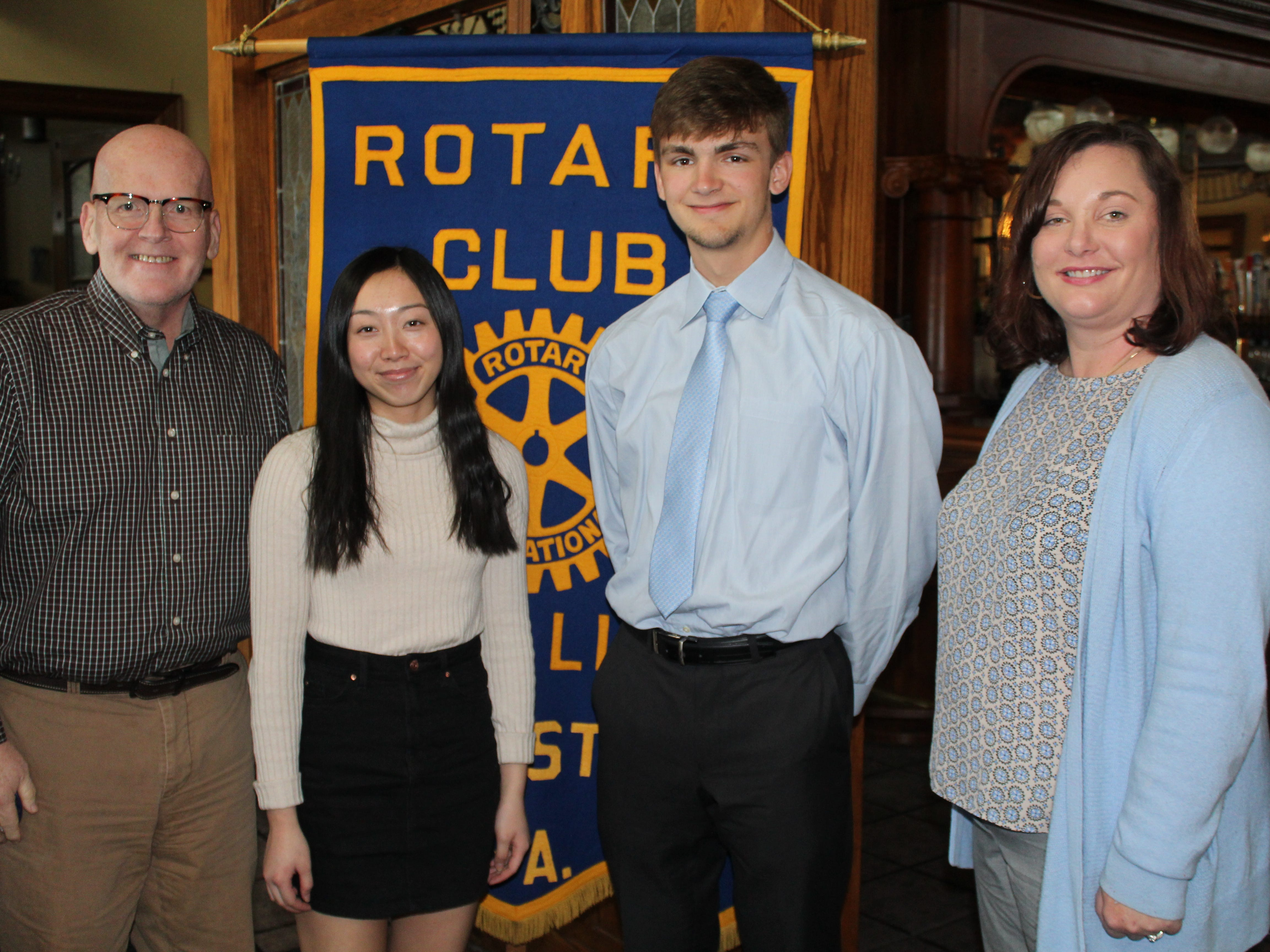 The Rotary Club of Red Lion - Dallastown recognized four students as February Students of the Month at their February 21st meeting. Club members George Flickinger, left, and Carrie Wilburn, right, pose with Dallastown students Liana Hoffman and Jacob Horning. submitted