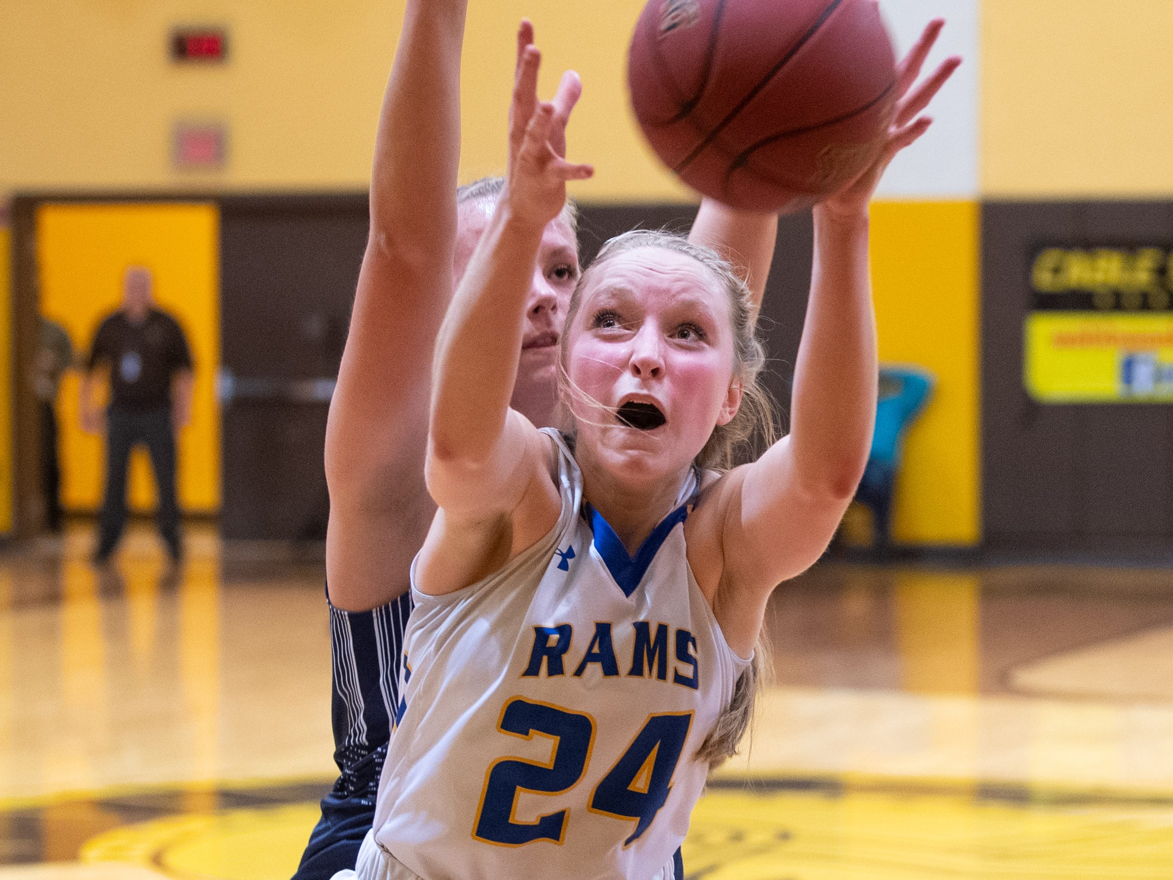 Lexie Kopko (24) catches the ball in the paint during the PIAA second round girls' basketball game between Kennard-Dale and Mifflinburg Area, March 13, 2019 at Milton Hershey School. The Rams fell to the Wildcats 51 to 45.