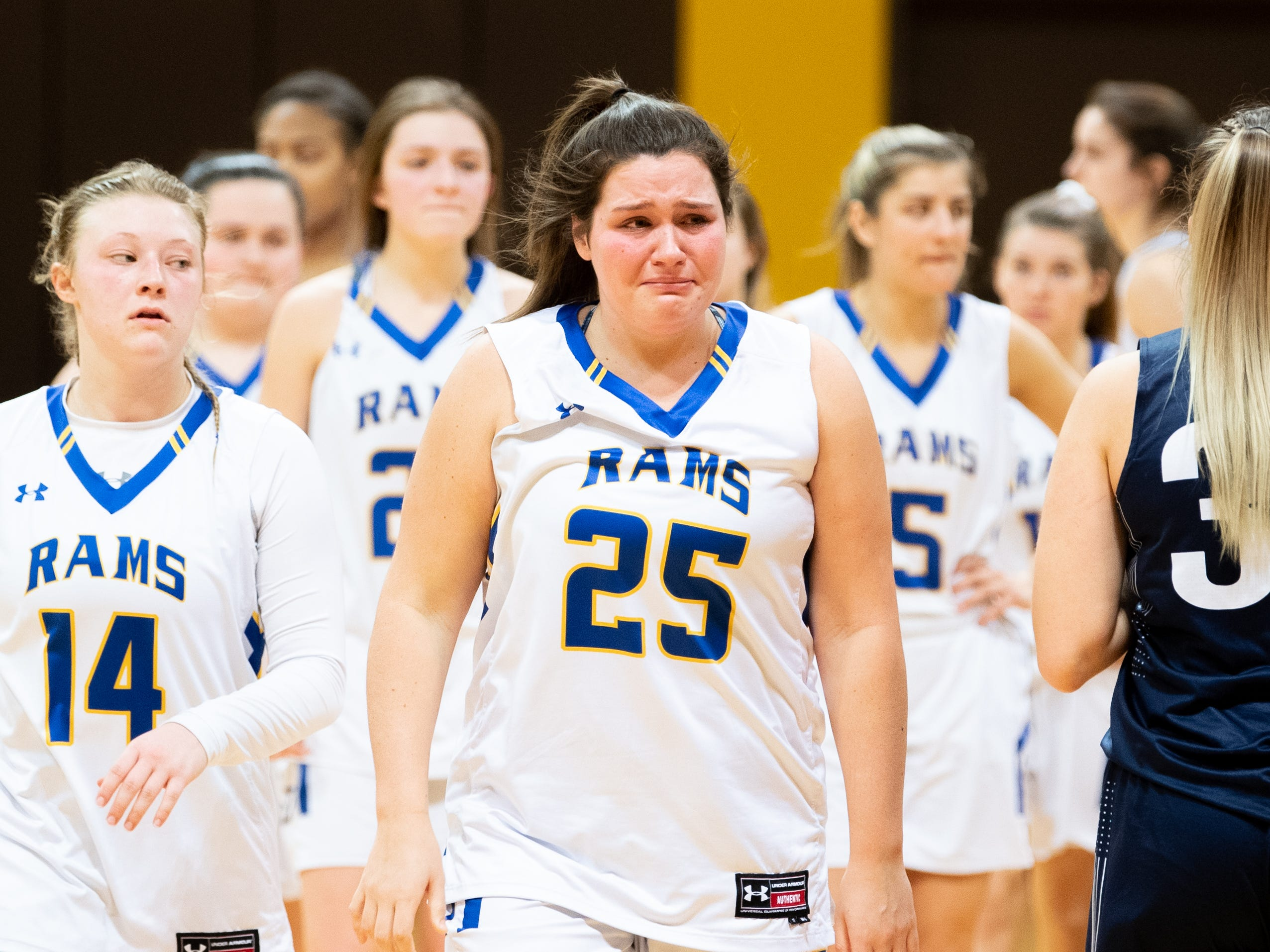 Kennard-Dale is overcome with emotions after losing to Mifflinburg Area in the PIAA second round girls' basketball game, March 13, 2019 at Milton Hershey School. The Rams fell to the Wildcats 51 to 45.