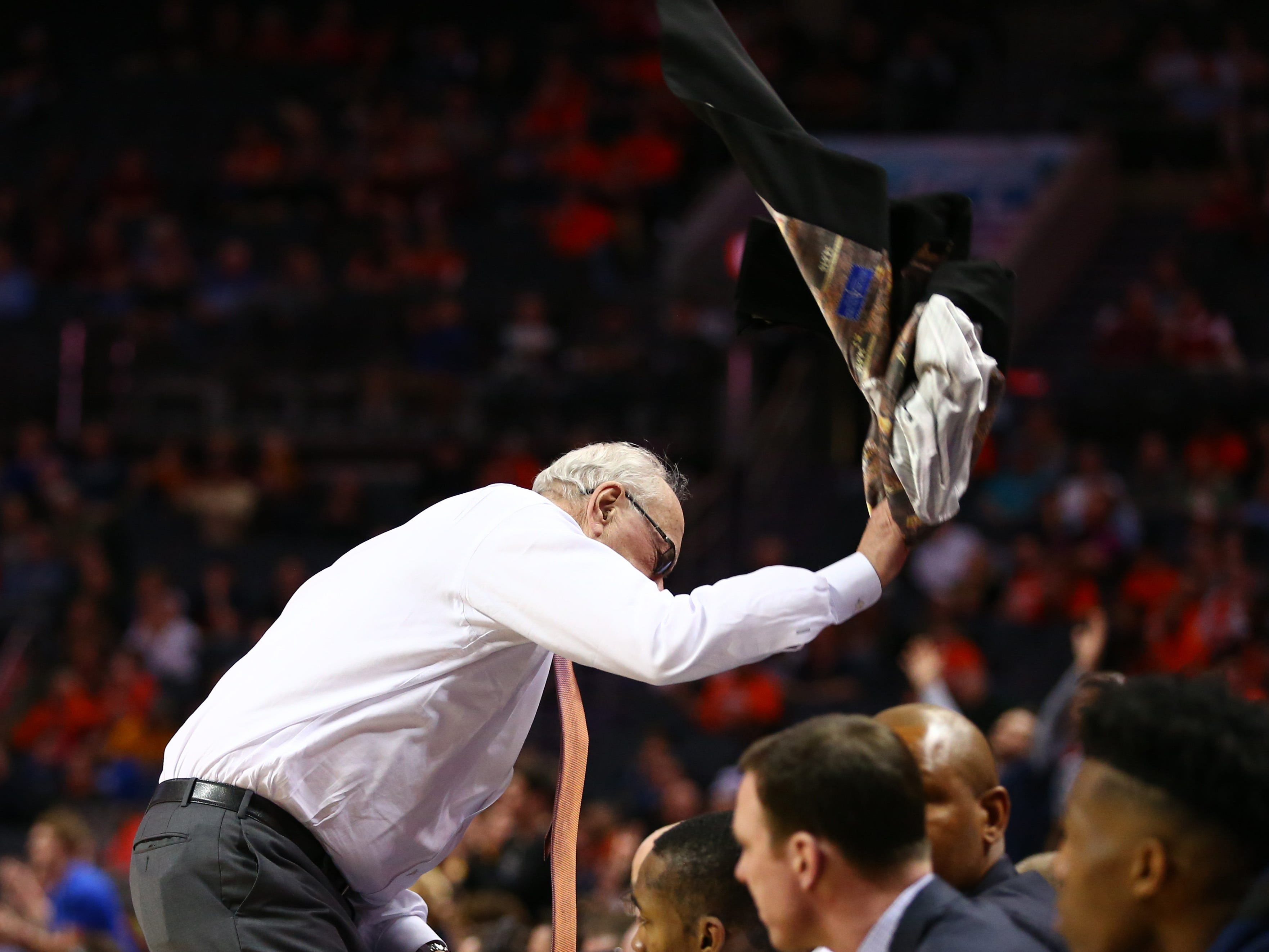 Syracuse head coach Jim Boeheim throws his jacket during the second half of Wednesday's win over Pittsburgh.