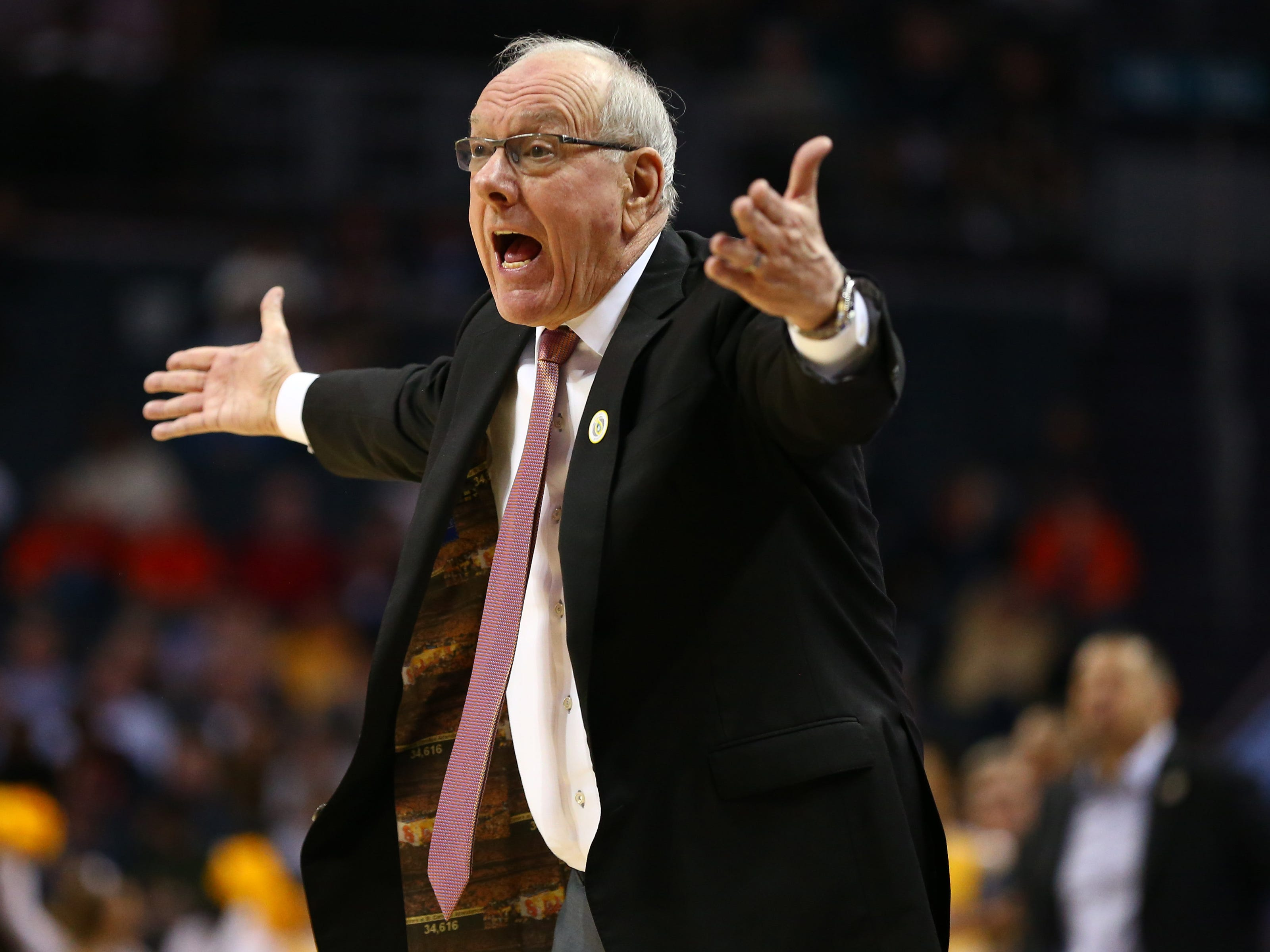Syracusecoach Jim Boeheim reacts to a call in the first half against the Pittsburgh Panthers in the ACC conference tournament at Spectrum Center.