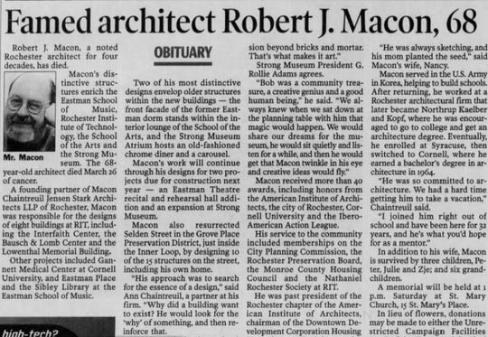 An obituary for Robert Macon was published in the Democrat and Chronicle on April 4, 2002.
