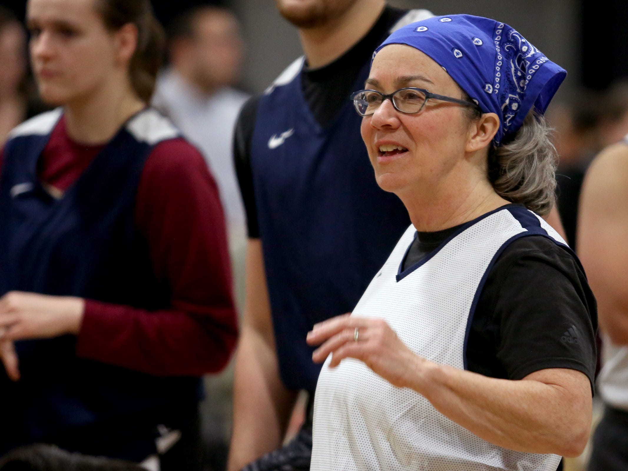 Rep. Barbara Smith Warner gathers with other players before the start of the second annual House vs. Senate charity basketball tournament at the Boys & Girls Club in Salem on March 13, 2019. The tournament raised more than $10,000 for the Oregon Alliance of Boys & Girls Clubs.