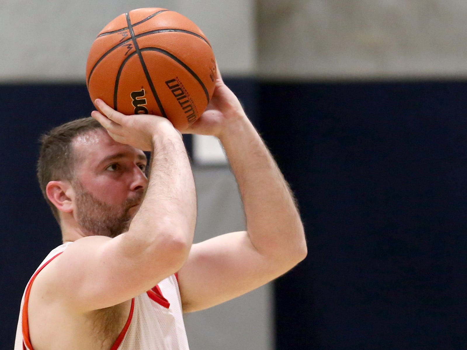 A Senate player eyes the basket in the second annual House vs. Senate charity basketball tournament at the Boys & Girls Club in Salem on March 13, 2019. The tournament raised more than $10,000 for the Oregon Alliance of Boys & Girls Clubs.