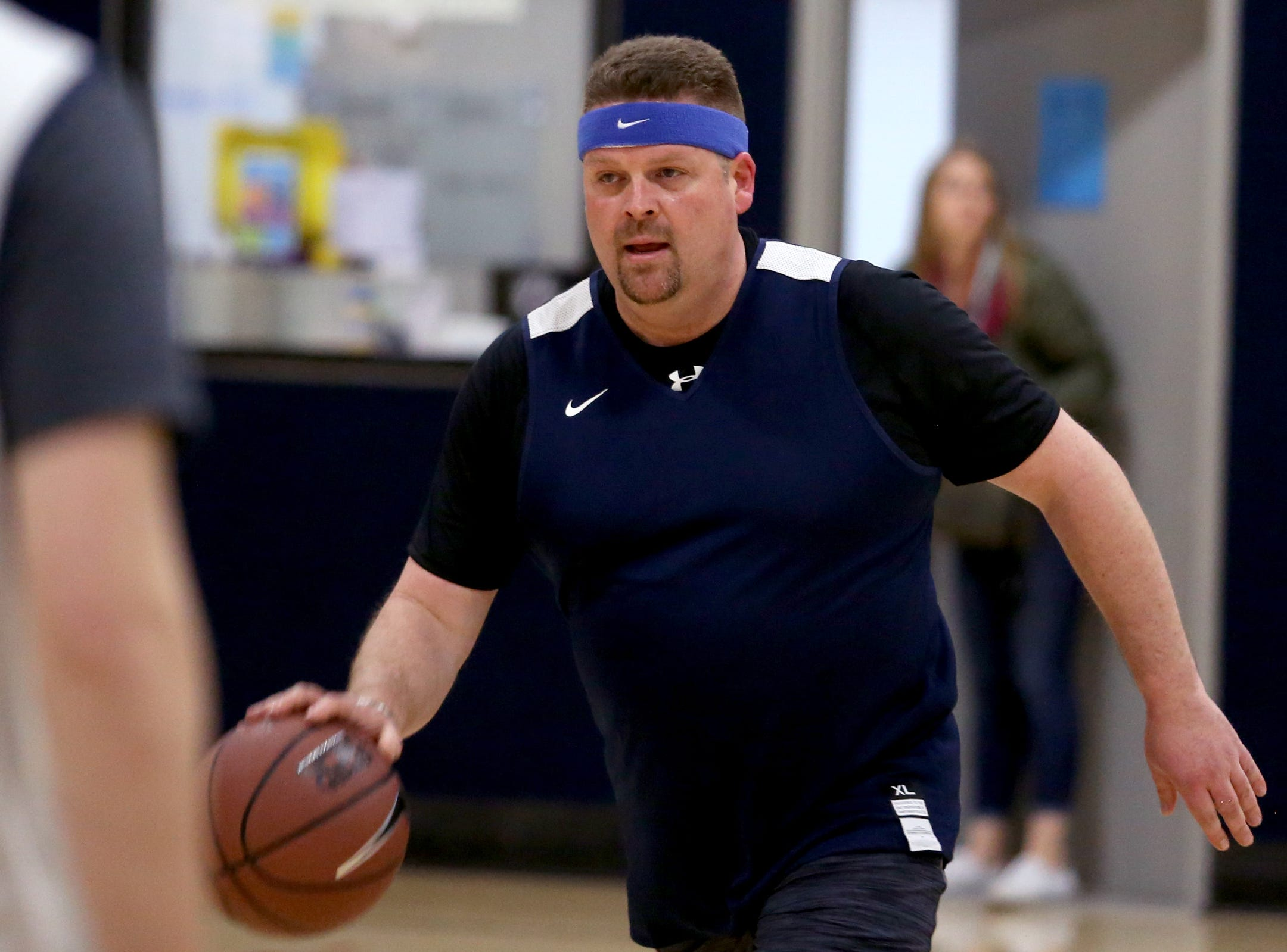 Rep. David Brock Smith plays in the second annual House vs. Senate charity basketball tournament at the Boys & Girls Club in Salem on March 13, 2019. The tournament raised more than $10,000 for the Oregon Alliance of Boys & Girls Clubs.