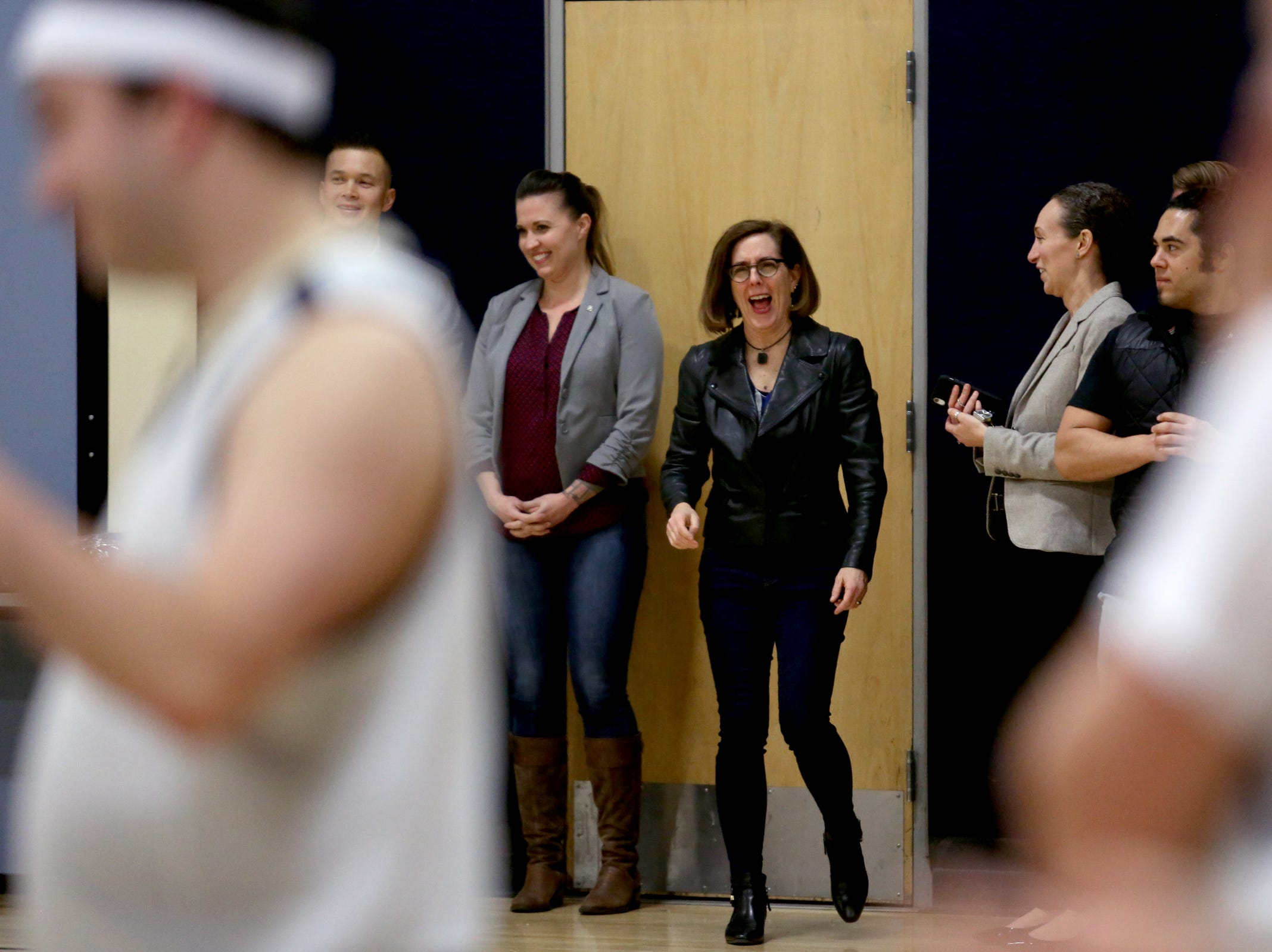 Gov. Kate Brown attends the second annual House vs. Senate charity basketball tournament at the Boys & Girls Club in Salem on March 13, 2019. The tournament raised more than $10,000 for the Oregon Alliance of Boys & Girls Clubs.