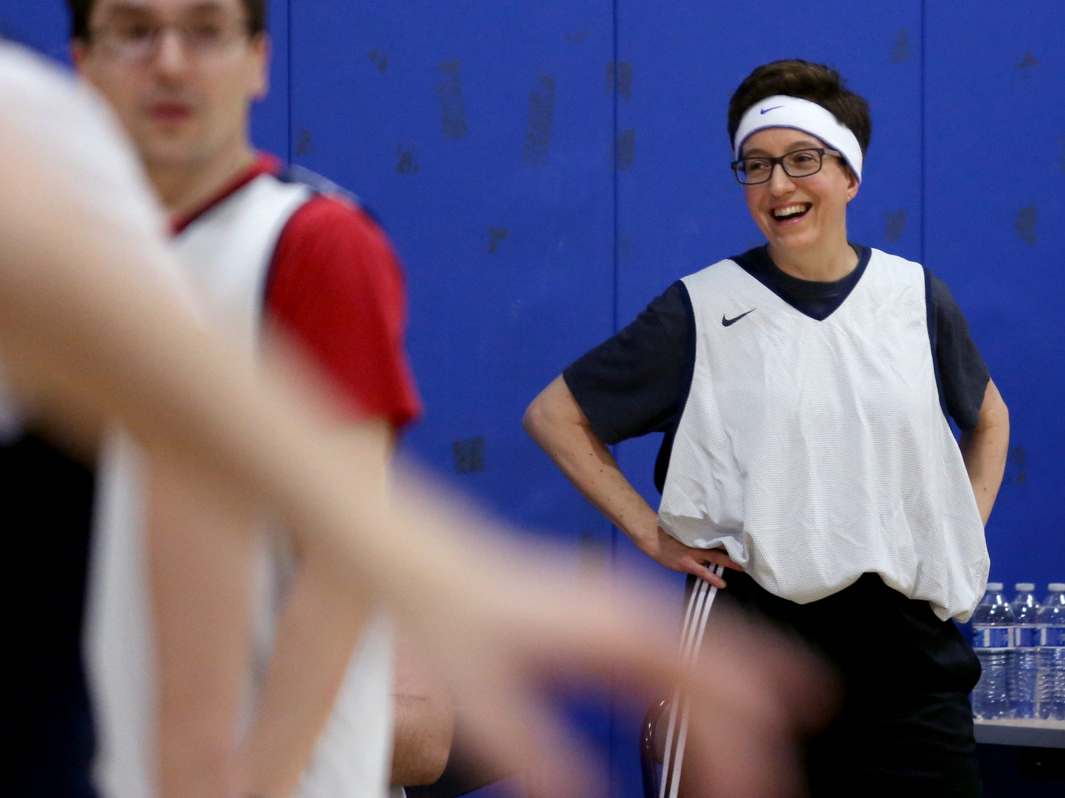 Speaker Tina Kotek watches the second annual House vs. Senate charity basketball tournament at the Boys & Girls Club in Salem on March 13, 2019. The tournament raised more than $10,000 for the Oregon Alliance of Boys & Girls Clubs.
