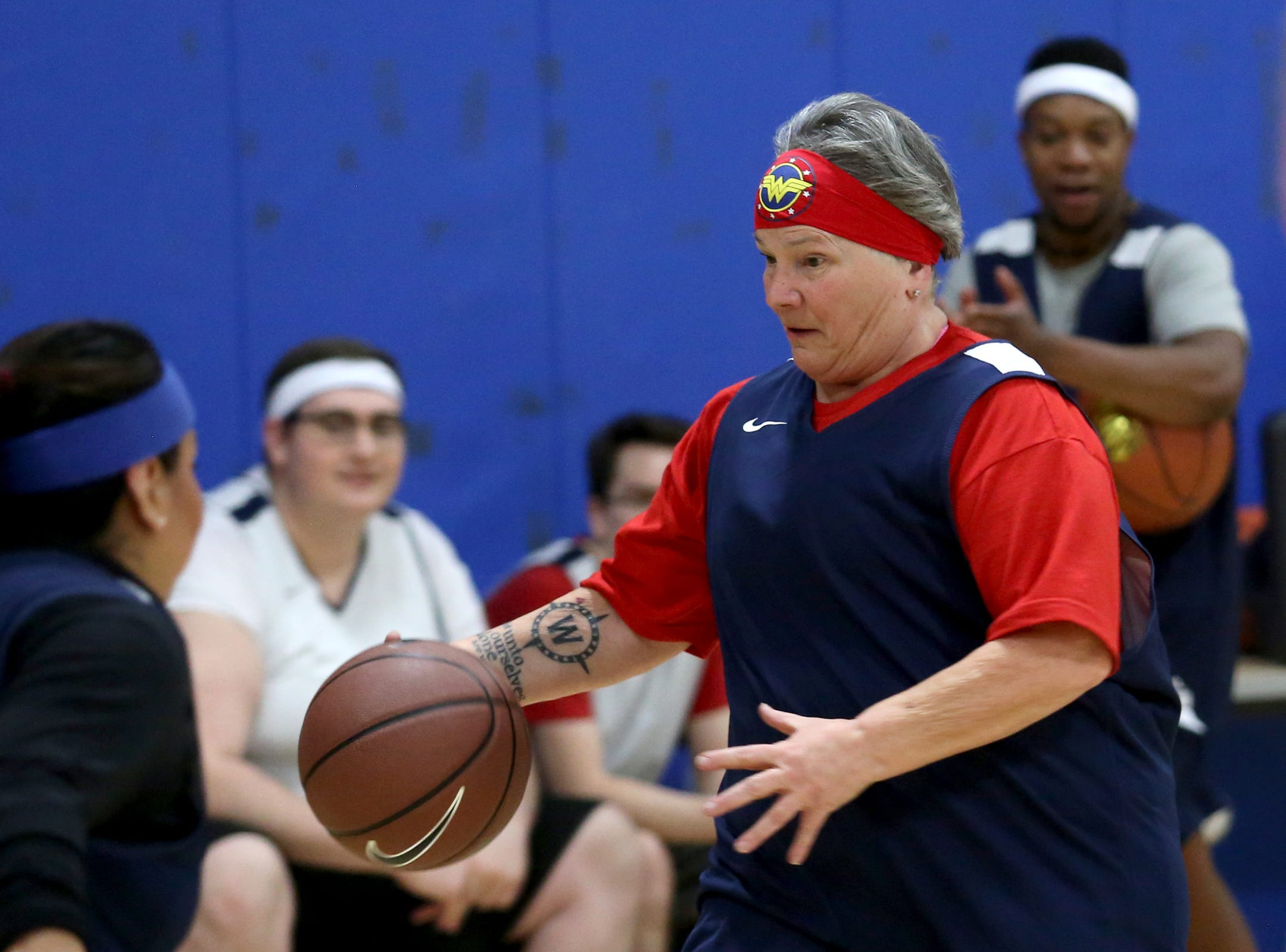 Rep. Carla Piluso plays in the second annual House vs. Senate charity basketball tournament at the Boys & Girls Club in Salem on March 13, 2019. The tournament raised more than $10,000 for the Oregon Alliance of Boys & Girls Clubs.