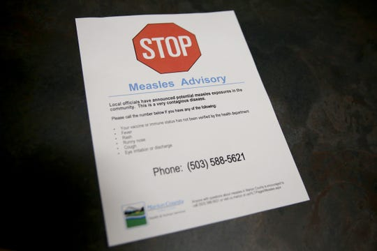 A flyer given to patients and other agencies at the Marion County Health & Human Services in Salem on March 14, 2019. There was one case of measles in Marion County confirmed in March.