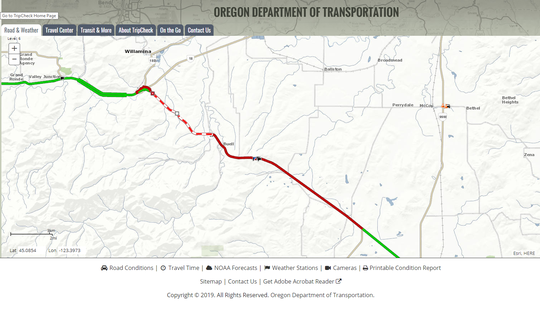 Part of Highway 22 is closed west of Buell following a crash, according to Oregon Department of Transportation's Trip Check.