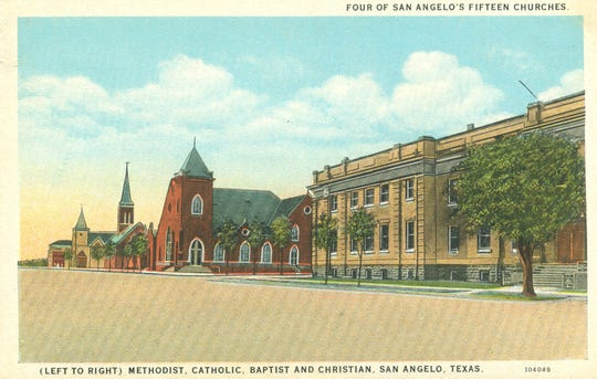 A postcard captures Oakes Street in downtown San Angelo as it appeared before World War II, with First Christian Church of San Angelo in the foreground.