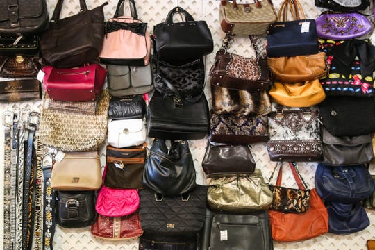 Purses on display at A Second Look Consignment.