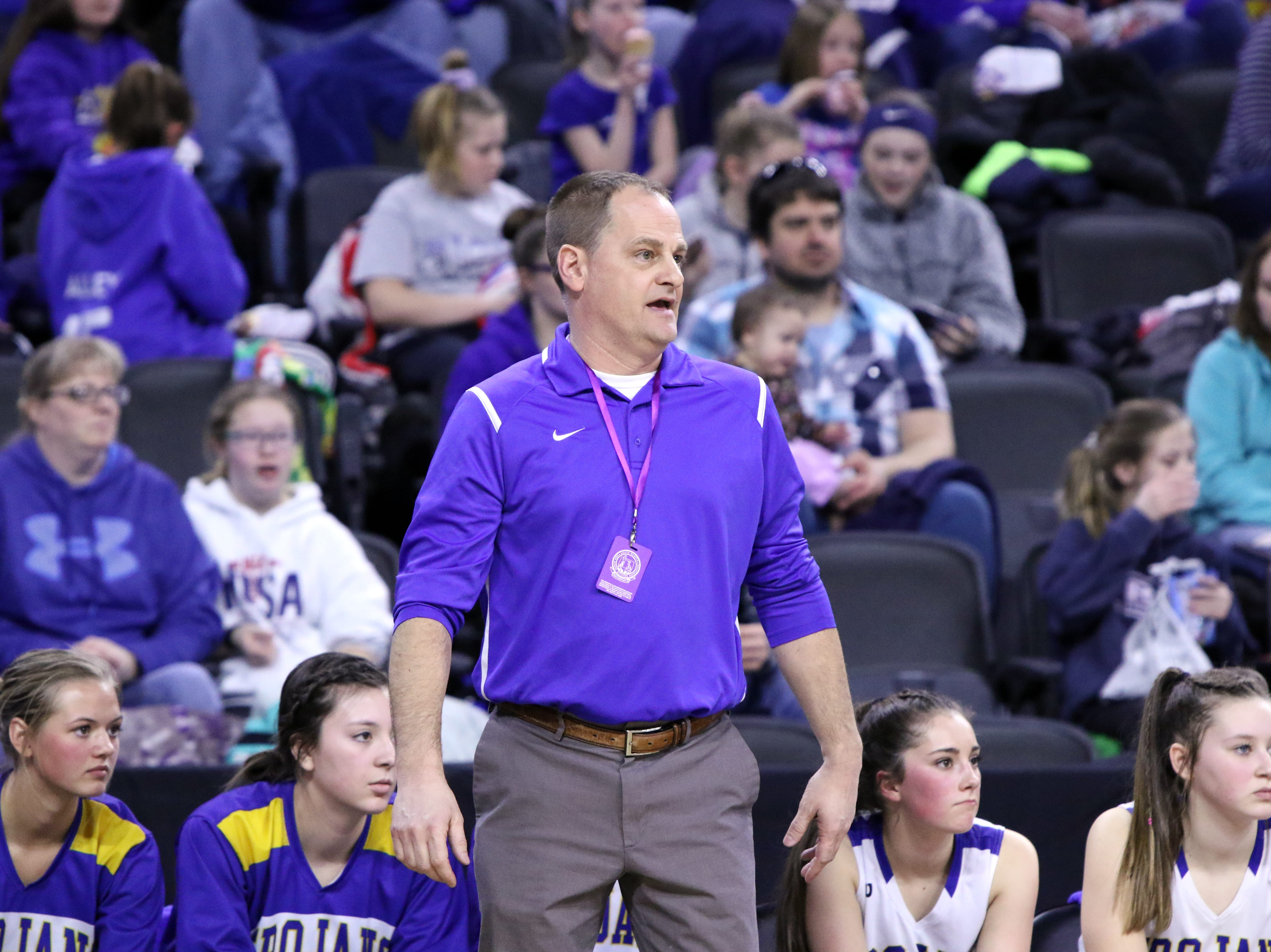 West Central Head Coach, Joe Caffrey watches the action during Thursday's game against Mt Vernon-Plankinton at the Premier Center in Sioux Falls.