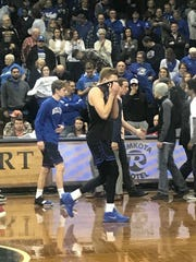 Ty Hoglund moments after he missed a half-court shot against Indiana Wesleyan at the NAIA national tournament on March 8. 2019.