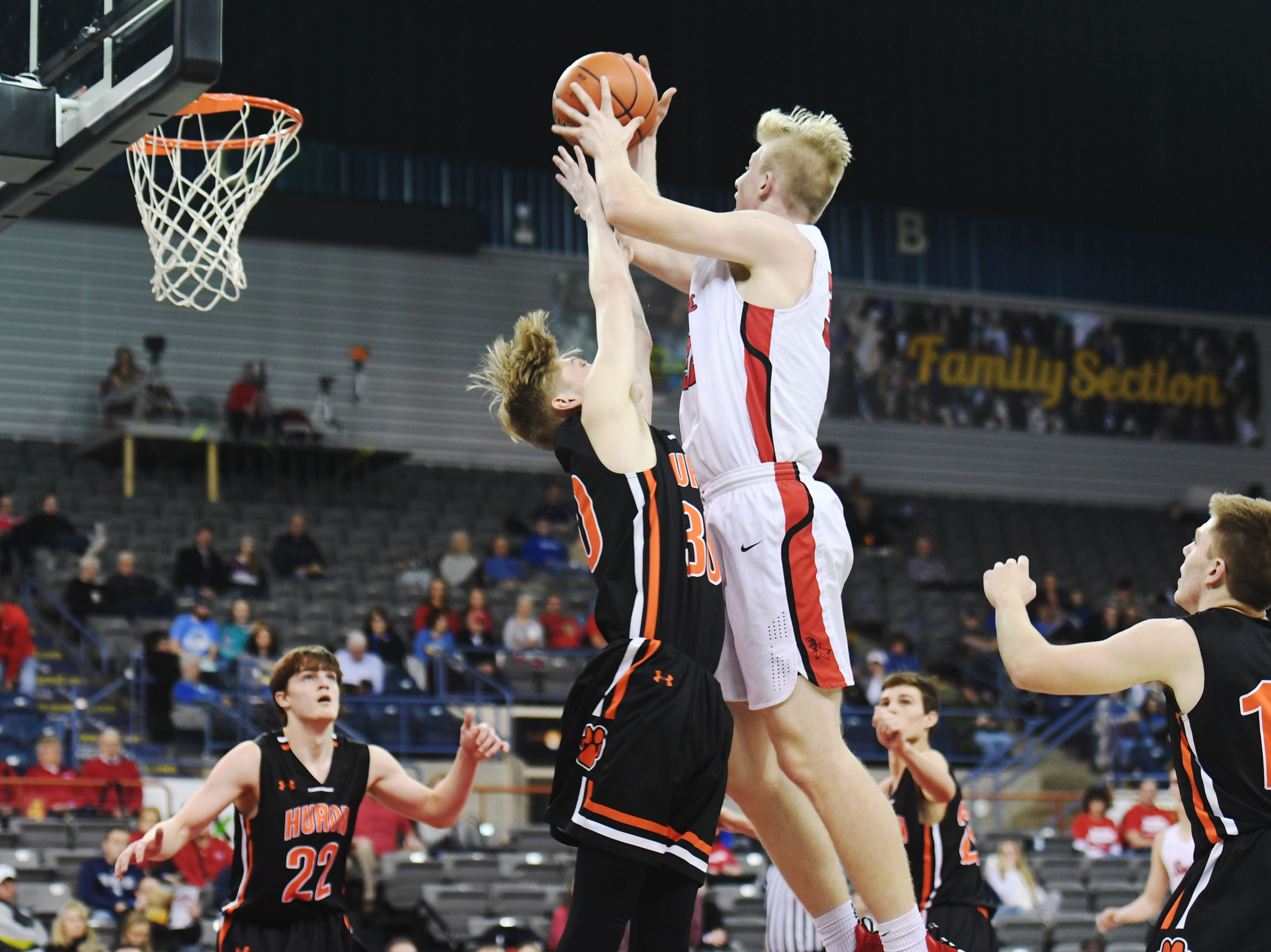 Yankton's Matthew Mors takes a shot against Huron in the Class AA quarterfinals Thursday, March 14, in Rapid City.