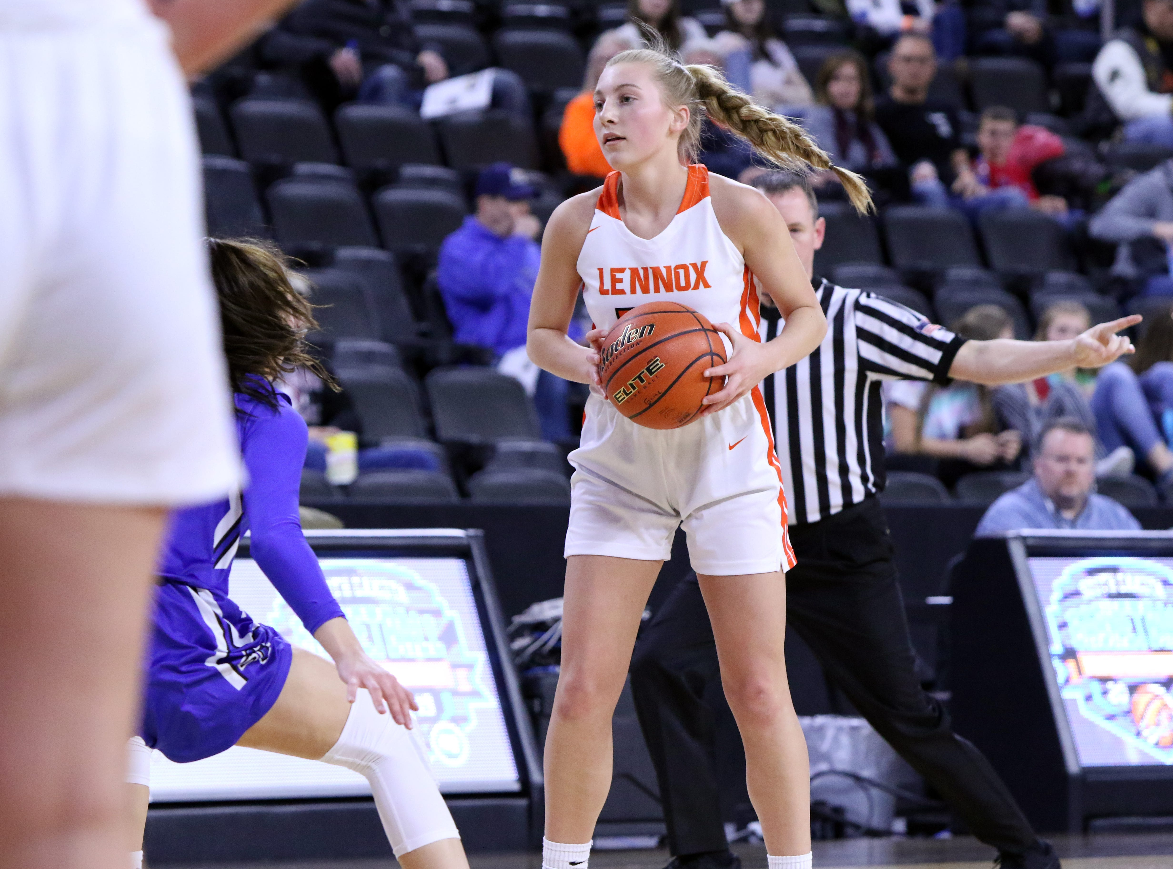 Isabel Ihnen of Lennox looks for an open teammate during Thursday's game against St Thomas More at the Premier Center in Sioux Falls.