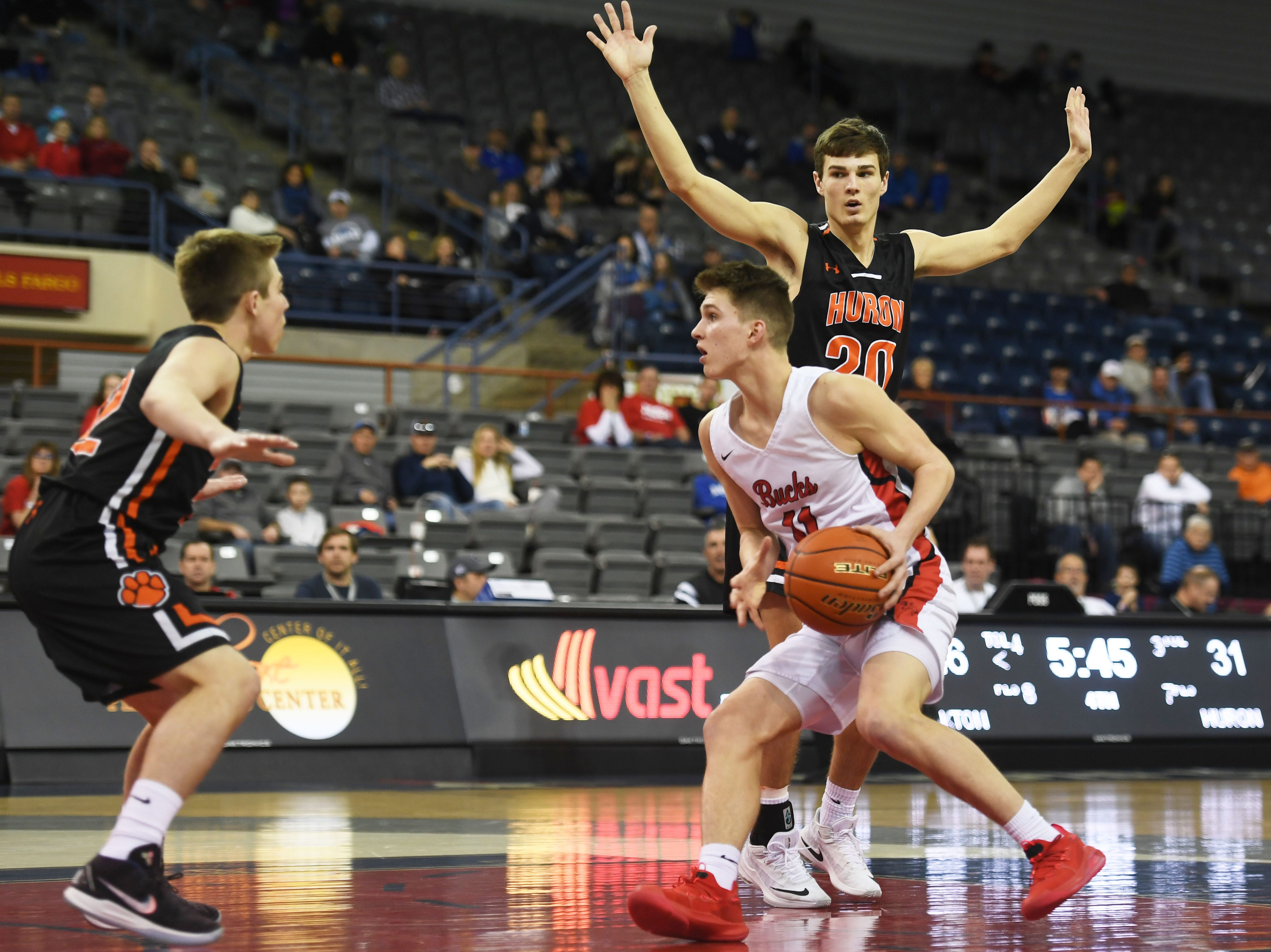 Yankton's Cooper Cornemann goes against Huron defense in the Class AA quarterfinals Thursday, March 14, in Rapid City.