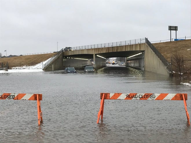Stalled cars at the 57th Street tunnel after heavy rains flooded the area on March 14, 2019.