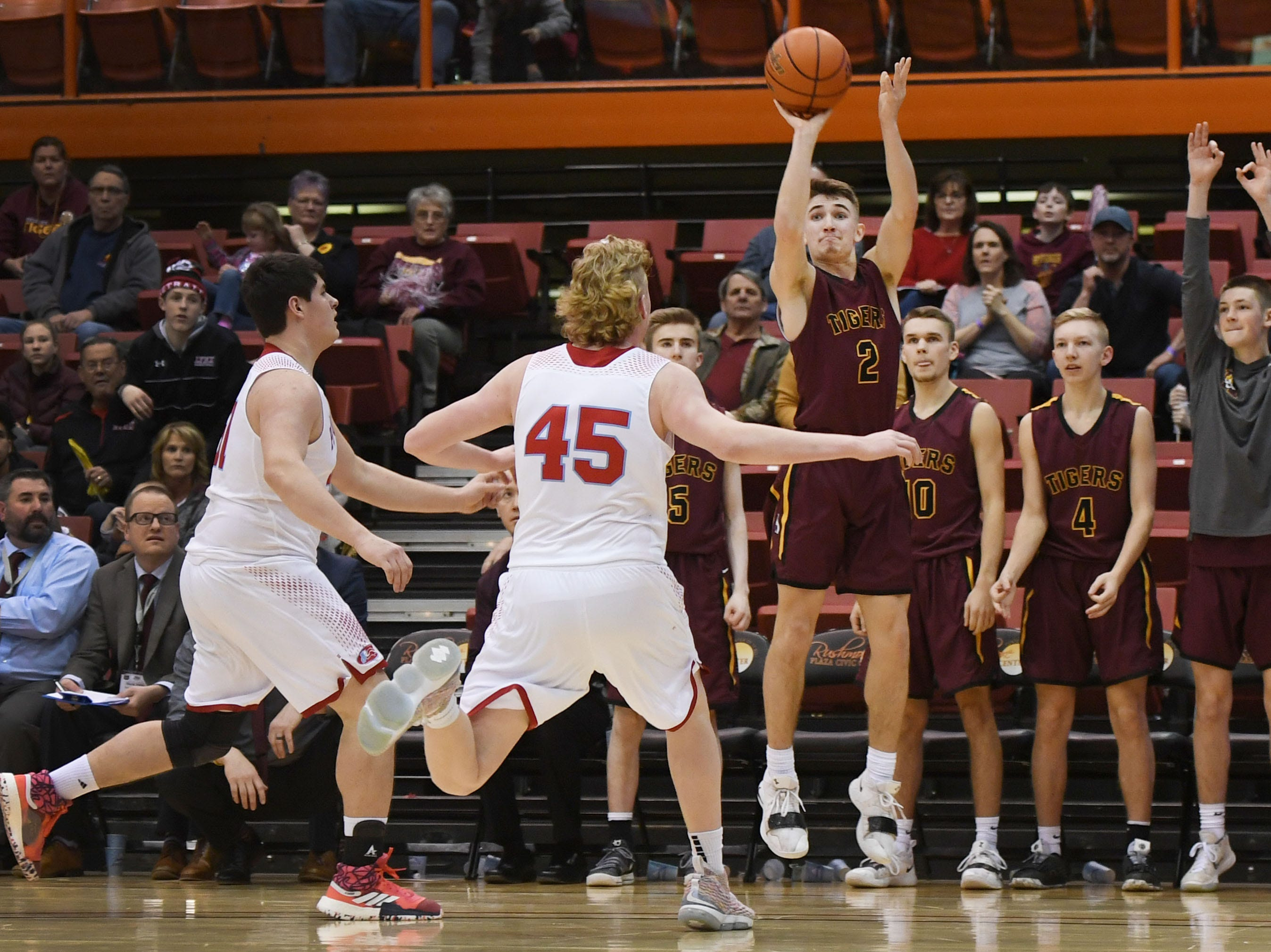 Harrisburg's Nick Hoyt takes a shot against Lincoln in the Class AA quarterfinals Thursday, March 14, in Rapid City.