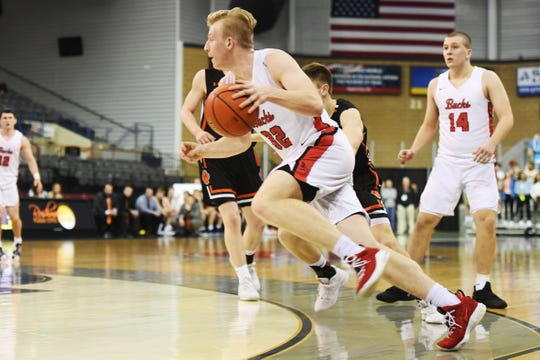 Yankton's 	Matthew Mors goes against Huron defense in the Class AA quarterfinals Thursday, March 14, in Rapid City.