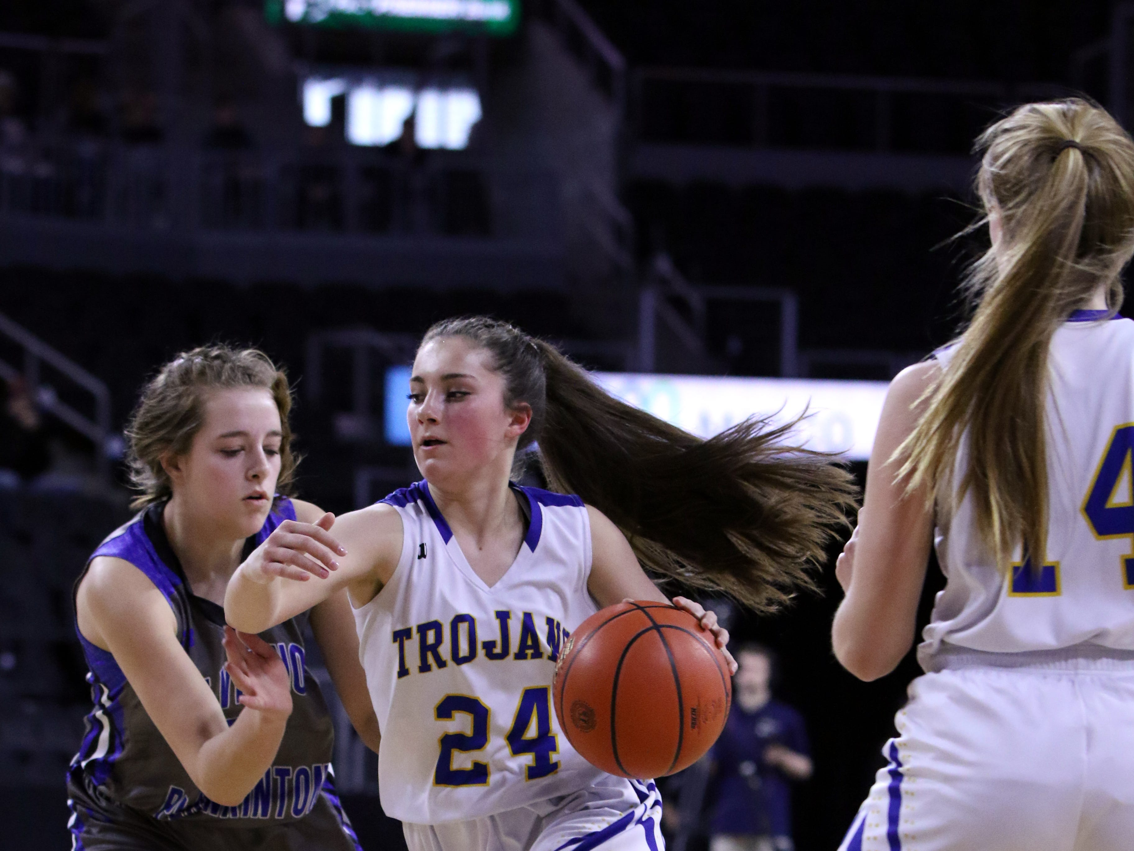 West Central's Josslin Jarding dribbles past Maria Baker of Mt Vernon-Plankinton during Thursday's game at the Premier Center in Sioux Falls.