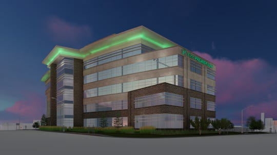 Rendering for the First Premier Bank headquarters building set for the intersection of 14th Street and Minnesota Avenue in Sioux Falls.