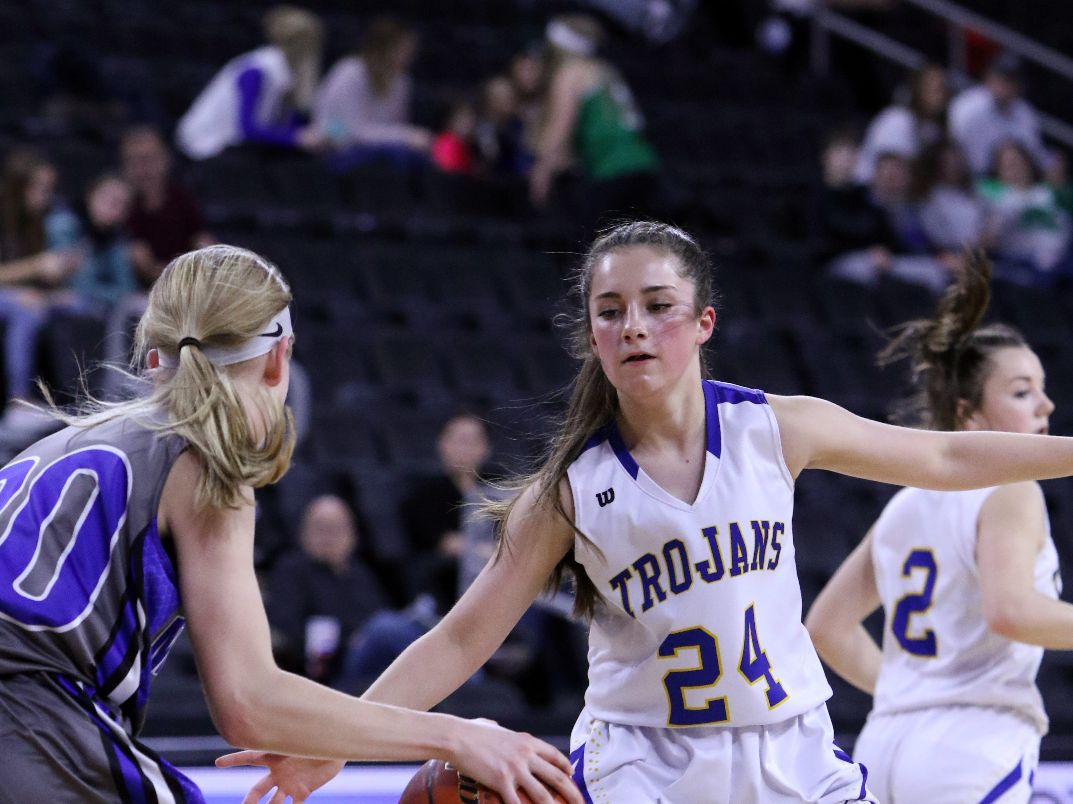 Josslin Jarding of West Central defends against Emilee Fox of Mt Vernon-Plankinton during Thursday's game at the Premier Center in Sioux Falls.
