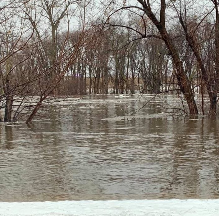 Tomar Park is flooded in Sioux Falls on March 14.