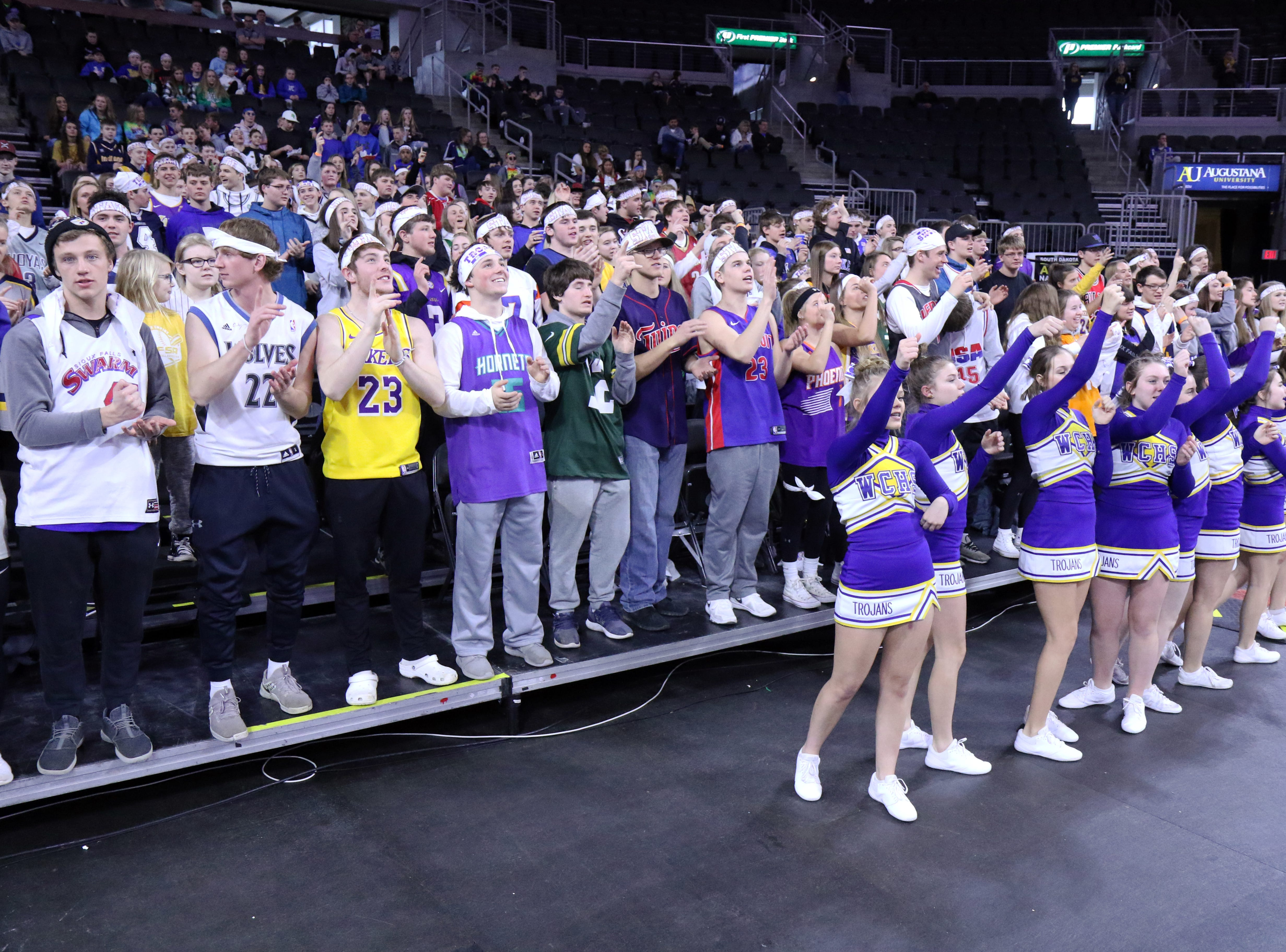 West Central fans cheer during Thursday's game against Mt Vernon-Plankinton at the Premier Center in Sioux Falls.