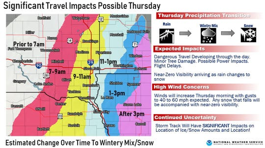 About half an inch of rain in the morning will be covered by a blanket of snow by the afternoon, causing hazardous driving conditions, according to the National Weather Service.
