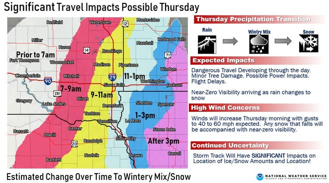 About half an inch of rainin the morning will be covered by a blanket of snow by the afternoon, causing hazardous driving conditions, according to the National Weather Service.