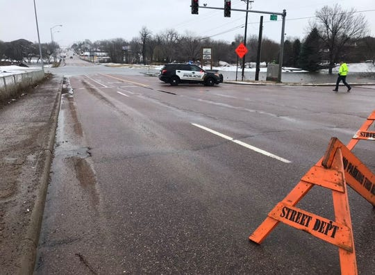 Interstate 229 and 26th Street was blocked off after heavy rains flooded the area on March 14, 2019.