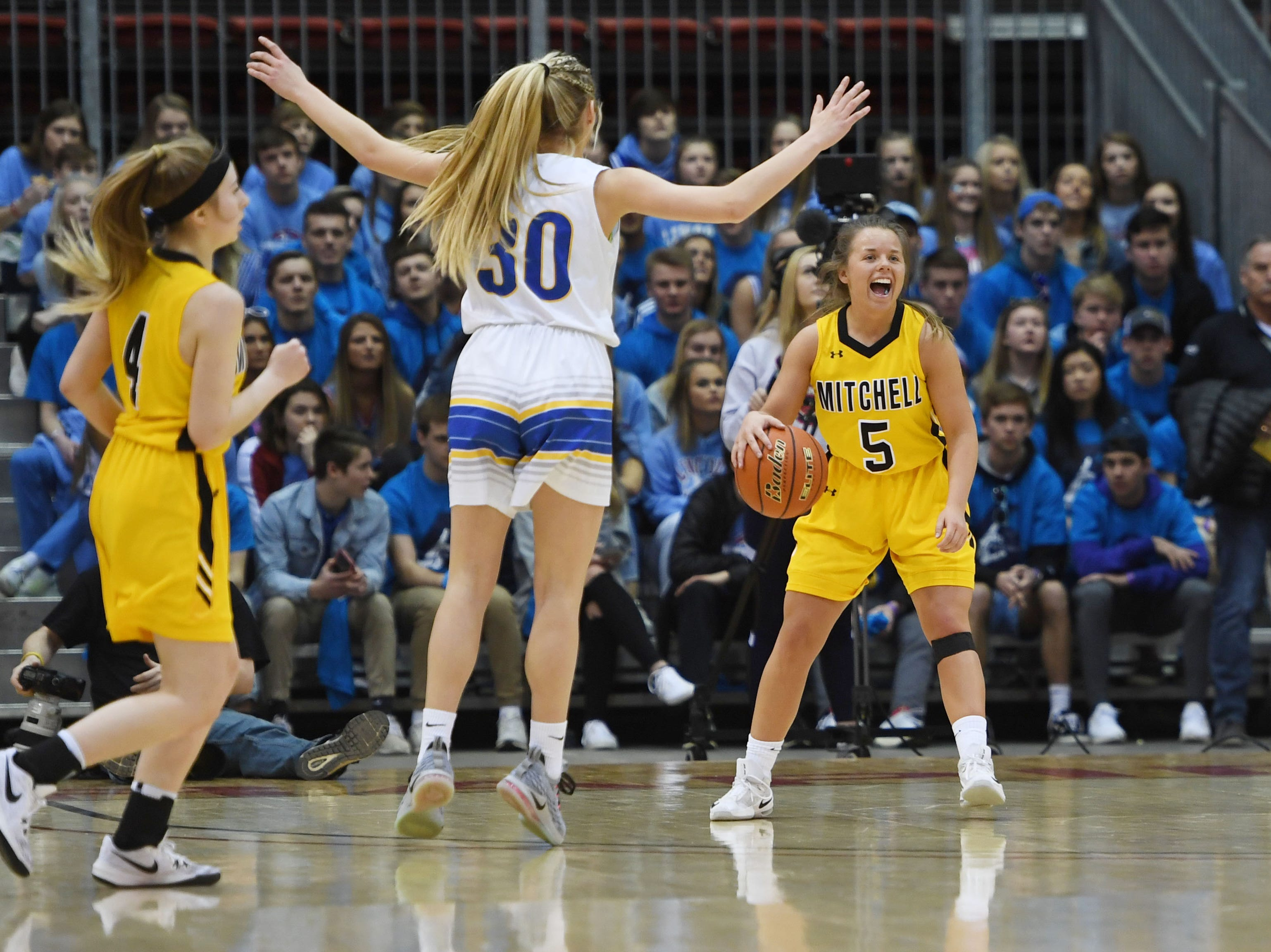 Mitchell's Jordyn Cranny cheers in the last seconds of the game against O'Gorman in the Class AA quarterfinals Thursday, March 14, in Rapid City.