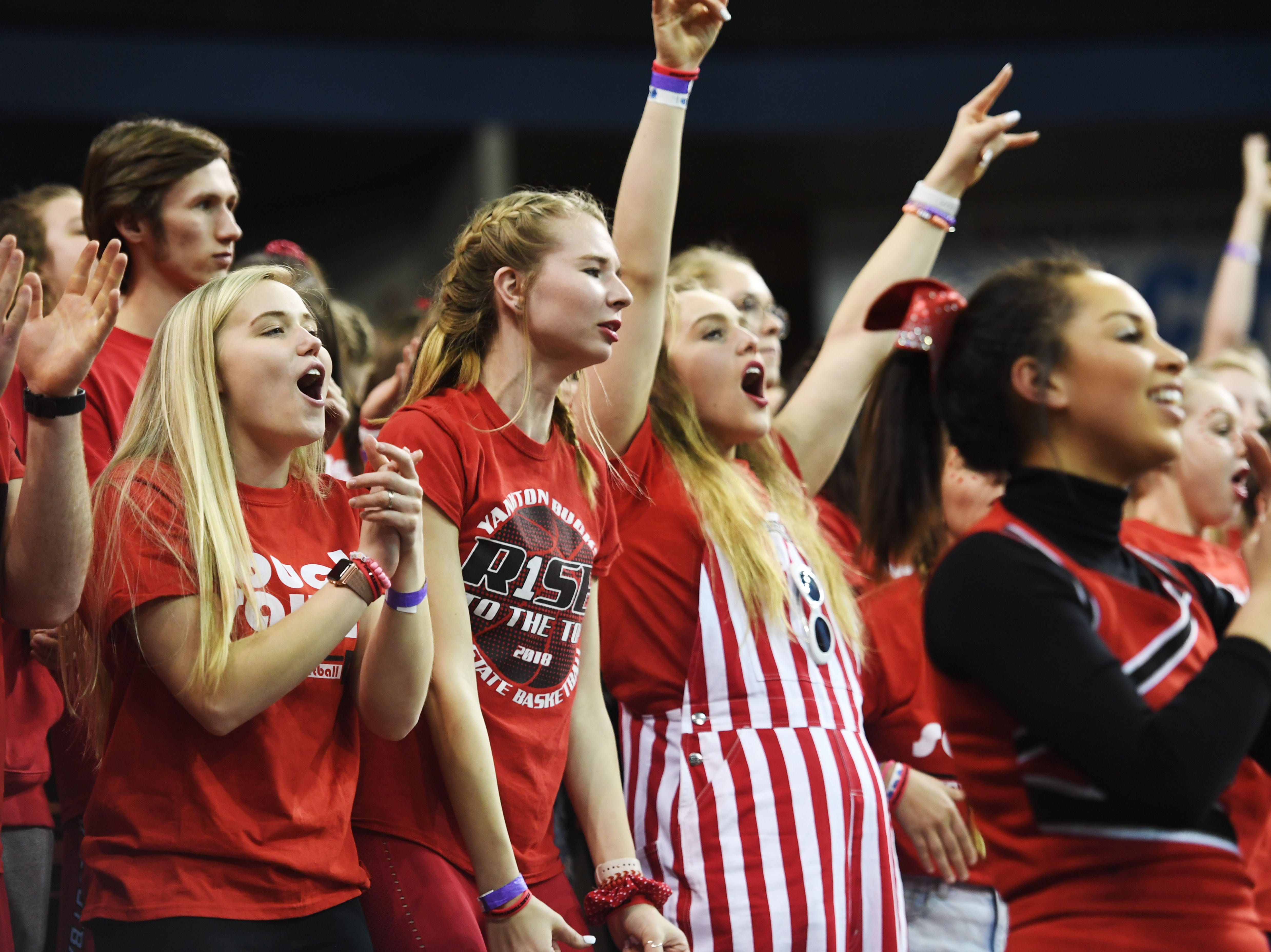 Yankton's student section during the game against Huron in the Class AA quarterfinals Thursday, March 14, in Rapid City.