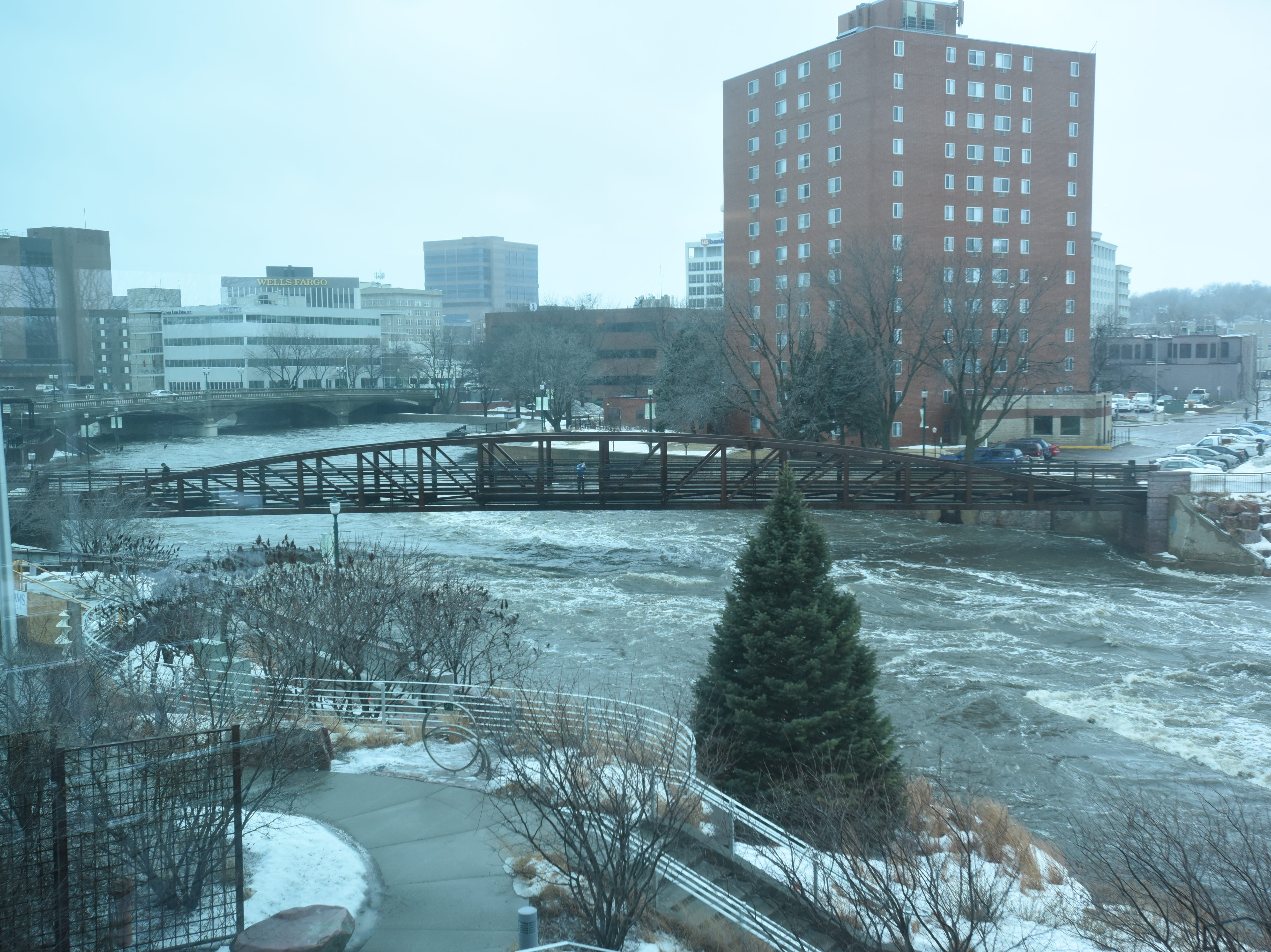 The Big Sioux River rose to a dangerous level Thursday, March 14, after heavy rainfall flooded portions of Sioux Falls.