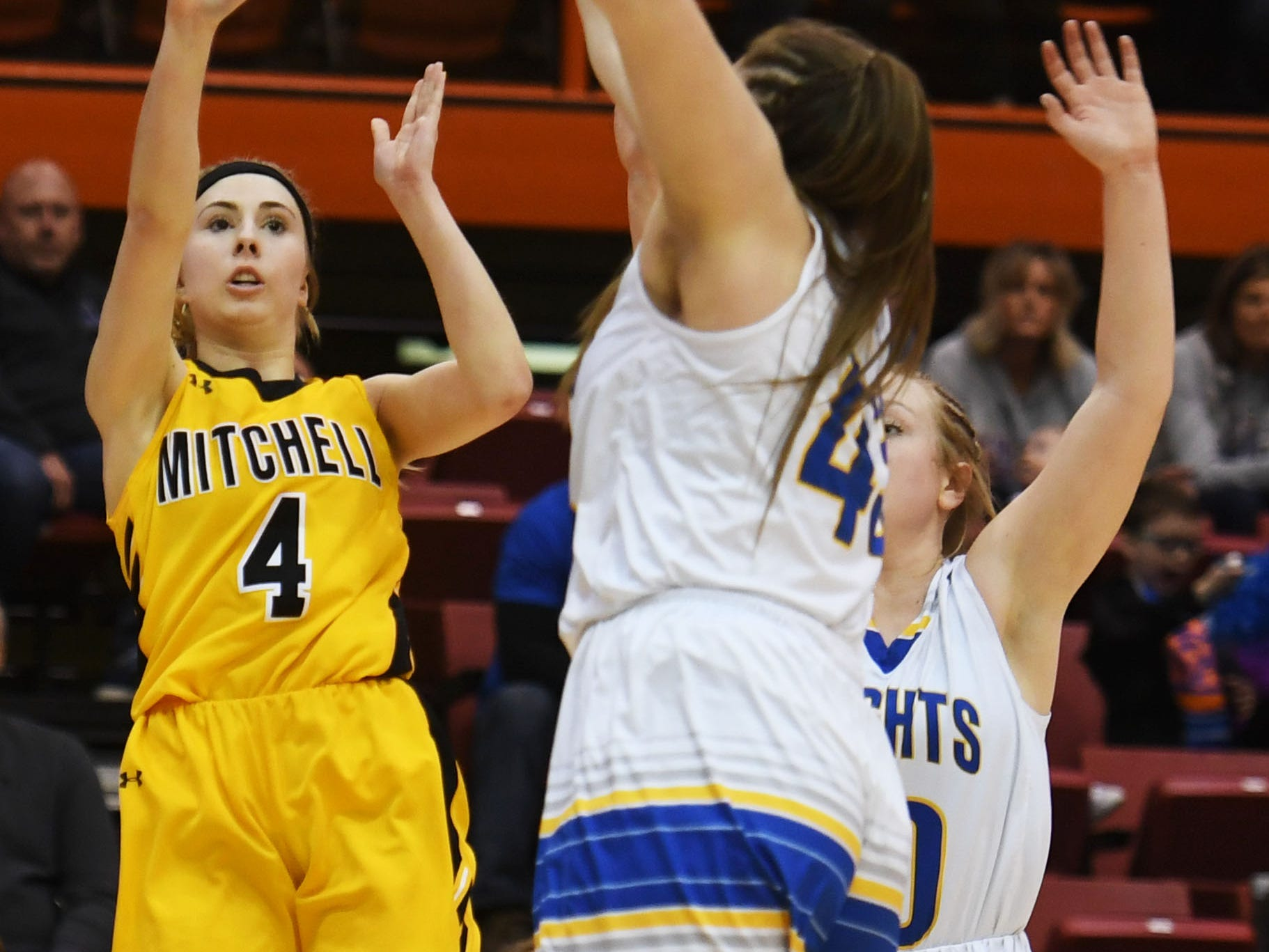 Mitchell's Tess Limberg takes a shot against O'Gorman in the Class AA quarterfinals Thursday, March 14, in Rapid City.