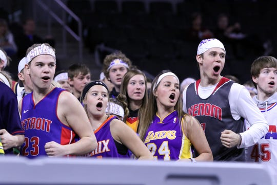 West Central students cheer during Thursday's game against Mt Vernon-Plankinton at the Premier Center in Sioux Falls.