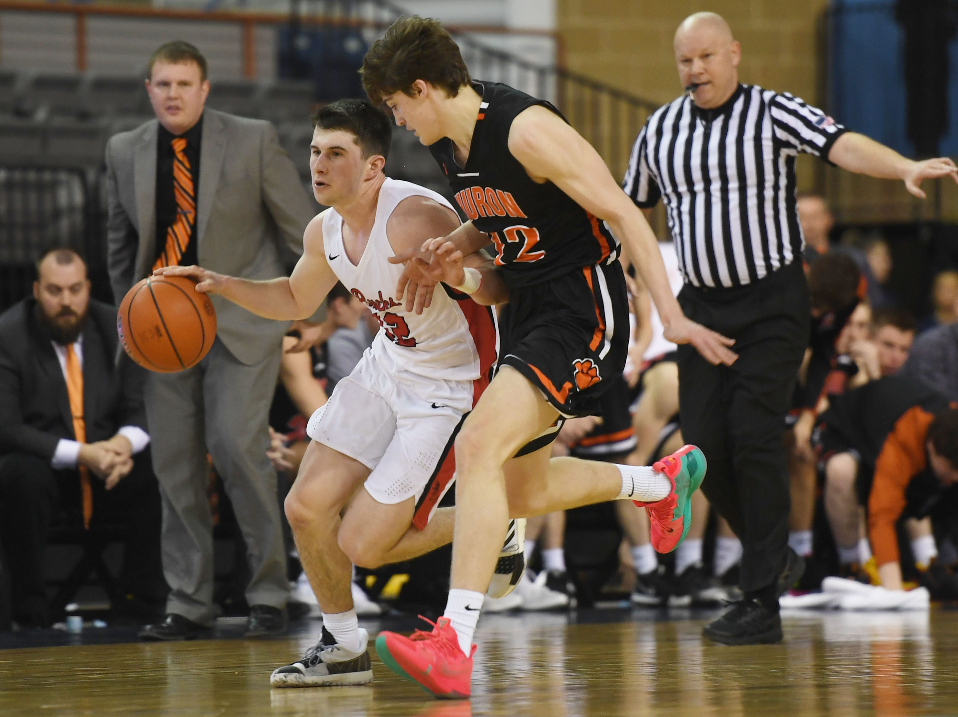 Yankton's Owen Feser goes against Huron defense in the Class AA quarterfinals Thursday, March 14, in Rapid City.