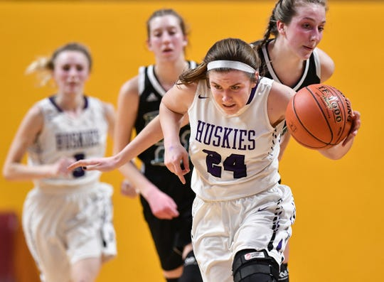 Albany's Paige Meyer controls the ball during the state Class 2A quarterfinals game Wednesday, March 13, at the University of Minnesota in Minneapolis.