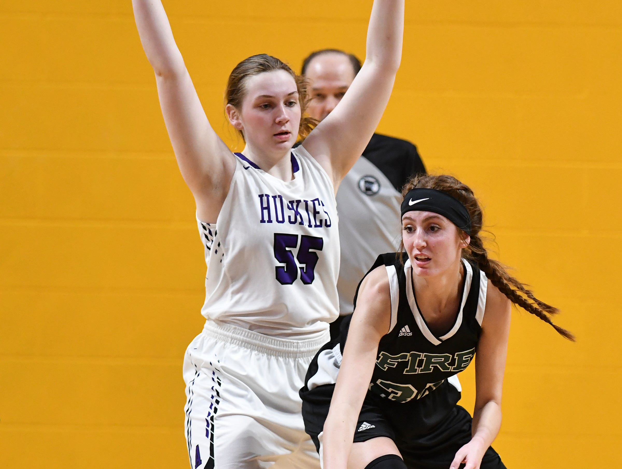 Albany's Madi Herkenhoff plays defense during the state Class 2A quarterfinals game Wednesday, March 13, at the University of Minnesota in Minneapolis.