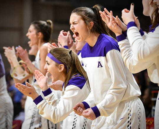 Albany players celebrate in the final minutes of their 60-49 win against Holy Family Catholic during the state Class 2A quarterfinals game Wednesday, March 13, at the University of Minnesota in Minneapolis.