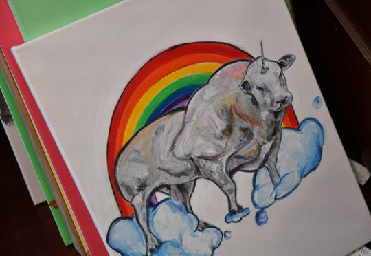 "Adam Spaeth is known for his interpretations of animals, including this ""Unibull""."