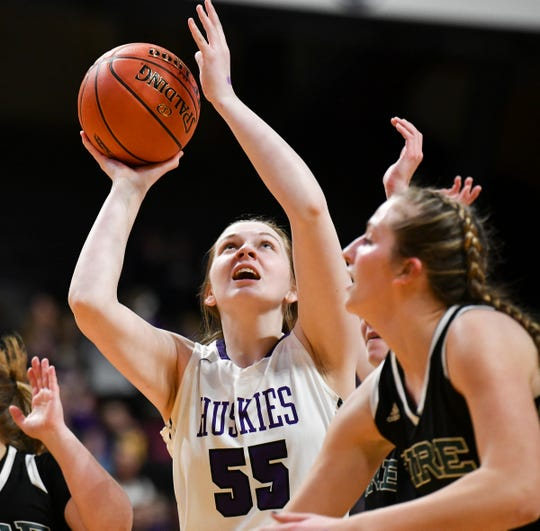 Albany's Madi Herkenhoff puts up a shot during the state Class 2A quarterfinals game Wednesday, March 13, at the University of Minnesota in Minneapolis.