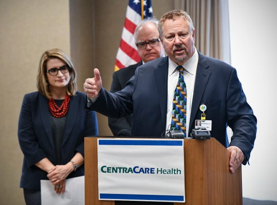 CentraCare CEO Ken Holmen speaks during a press conference held by Governor Tim Walz and Lieutenant Governor Peggy Flanagan on the Health Care Access Fund and a provider tax Thursday, March 14,  in St. Cloud.