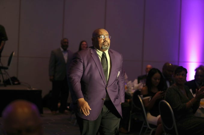 FAMU legend Alvin Hollins walks up to the stage during the MEAC Hall of Fame enshrinement ceremony on Thursday, March 14, 2019 Sheraton Norfolk Waterside Hotel in Norfolk, Virginia.