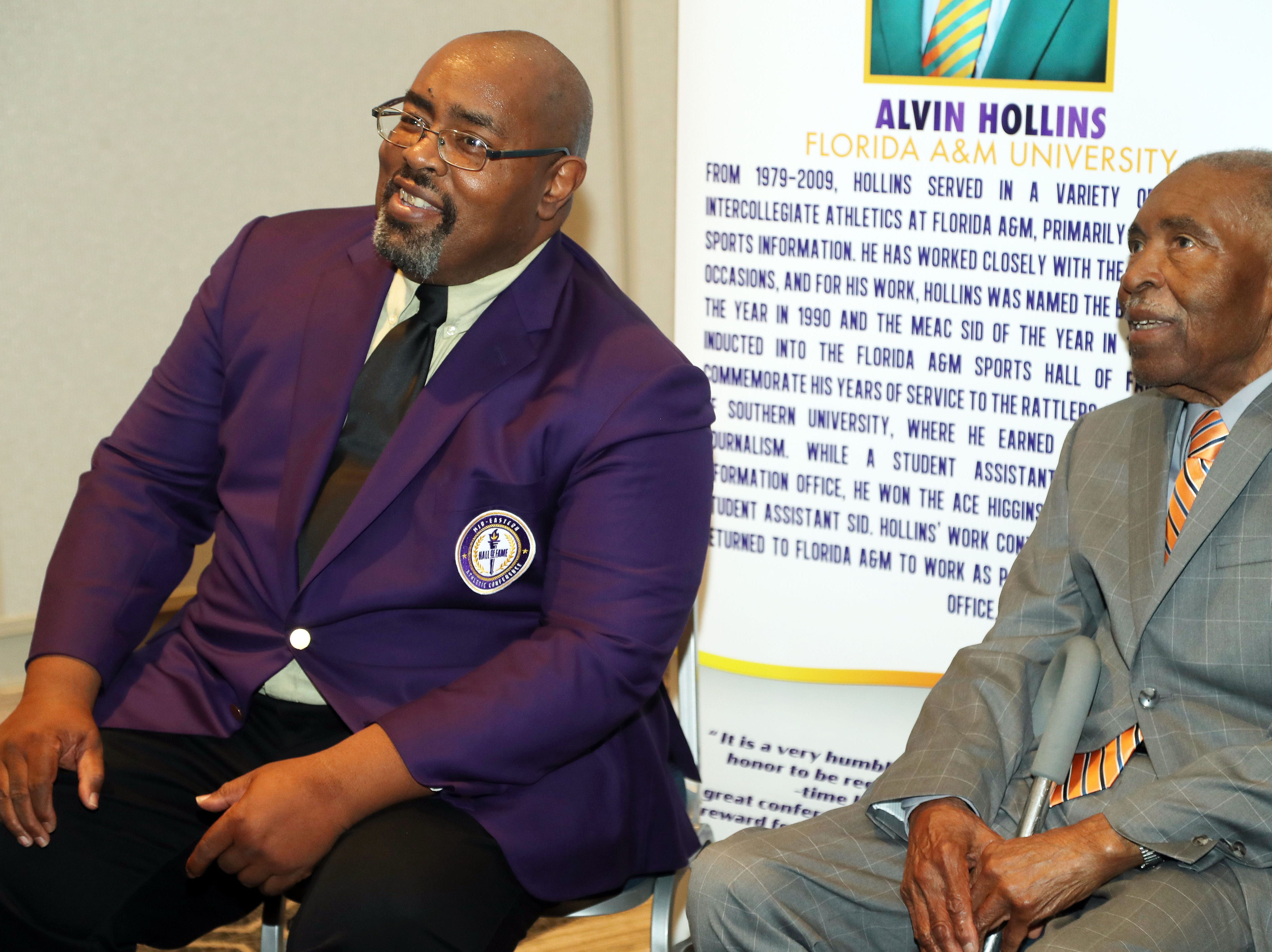 FAMU sports administrator Alvin Hollins, Jr. (left) shared his MEAC Hall of Fame moment with his father, Alvin, Sr. The event was held on Wednesday, March 14, 2019 at the Sheraton Waterside Hotel in Norfolk, Virginia.