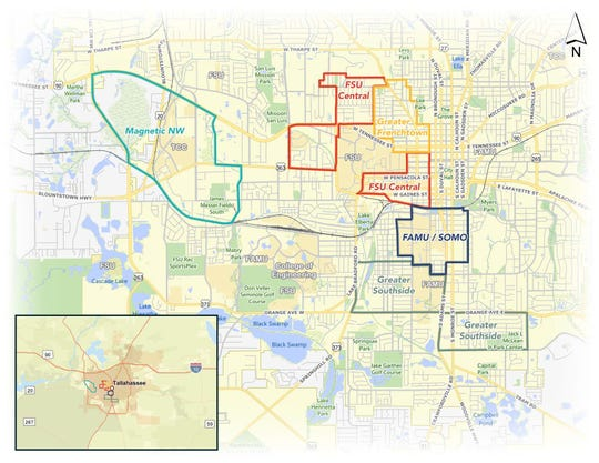 Map of Opportunity Zones in Tallahassee.